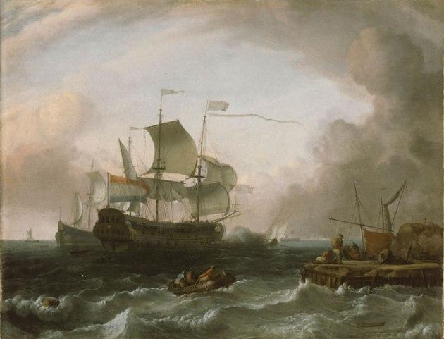 Dutch Men of War off a Jetty