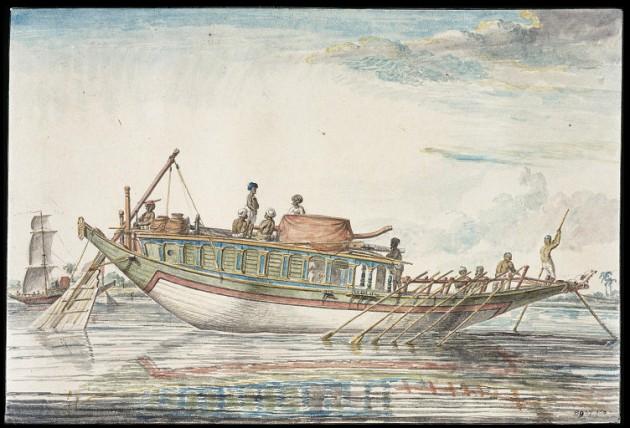 Un Badjera ou Budjeirou  un bateau long-courrier voyageant sur le Gange