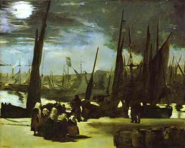 Moonlight over the Port of Boulogne.