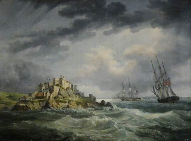 """HM Frigates """"Seahorse"""" and """"Cerebus"""", off Mont Orgueil Castle, Jersey."""