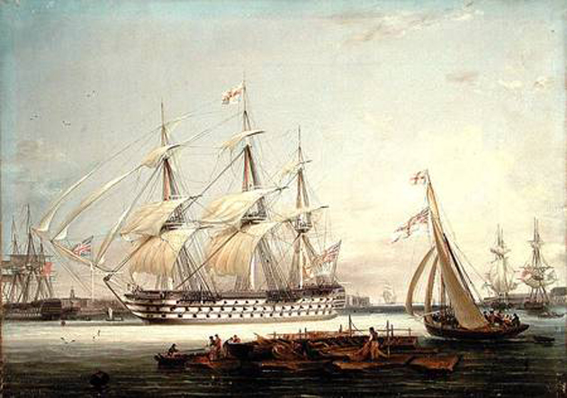 Lieutenant Robert Strickland Thomas -A Three-Decker Entering Portsmouth Harbour