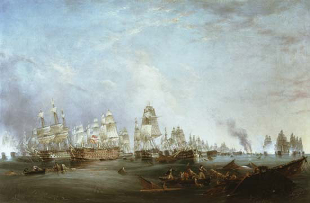 Lieutenant Robert Strickland Thomas -Surrender of the 'Santissima Trinidad to Neptune, The Battle of Trafalgar, 3pm