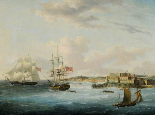 Naval Shipping off Castle Cornet.