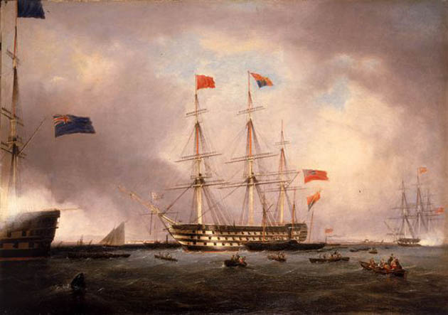 Queen Victoria's Visit to HMS 'Queen' at Portsmouth, 1 March 1842