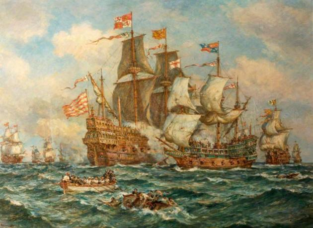 The Heroic Action of HMS 'Revenge' against the Spanish Fleet, 1591
