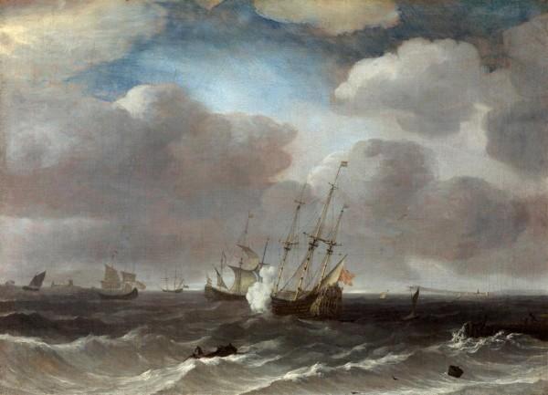 A Dutch Ship firing a gun.