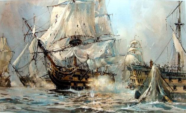 HMS Victory y el Bucentaurus - Trafalgar.