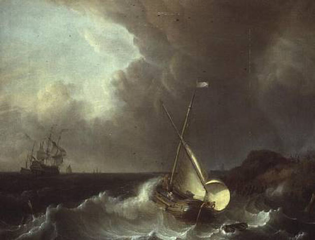 Galleon in Stormy Seas.