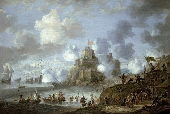 Mediterranean Castle under Siege from the Turks.