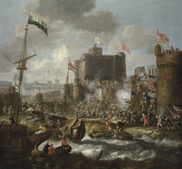 Ottoman forces attacking an islet fortress, possibly Grambusa, during the Siege of Candia.