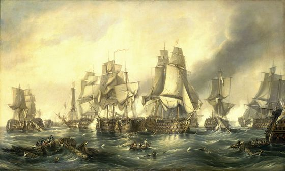 The Battle of Trafalgar, 21 October 1805.