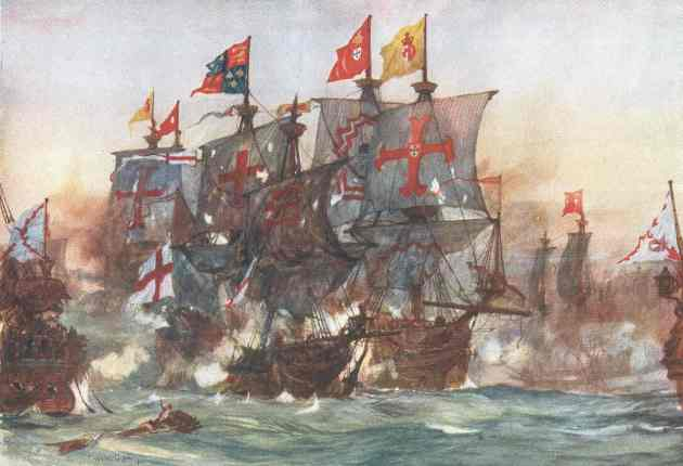 The Last fight of the Revenge off Flores in the Azores, 1591.