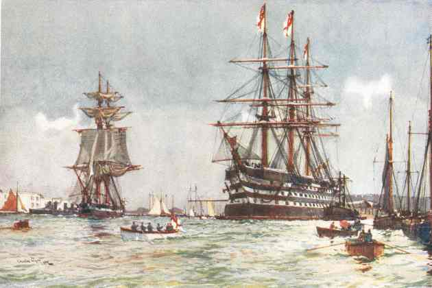 The St. Vincent in Portsmouth Harbour, 1900.