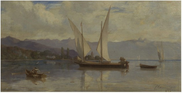 Lake Geneva, with Sailing  Boats.