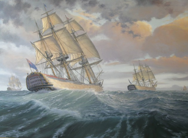 The Royal George and squadron approaching Quiberon Bay, 20th November 1759