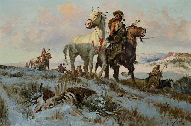 ------Leading Their Buffalo Horses